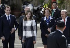 Queen Letizia, 45, looked elegant in a black and white checked jacket as she visited then...