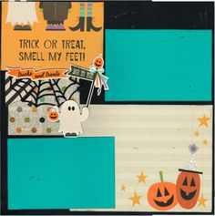 2 page Scrapbooking Layout Kit - Trick or Treat Smell my Feet - Halloween by CropALatteToGo on Etsy