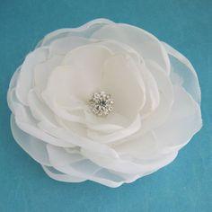 Bridal Hair Flower  Diamond White Rose Hair Clip  by HARTfeltart, $34.00