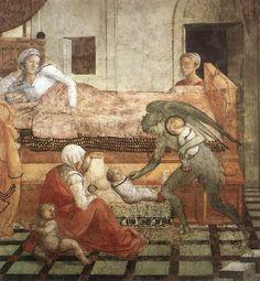 FILIPPO LIPPI (Fra) - Rapimento di Santo Stefano in fasce e sostituito da un altro bambino - affresco - 1452-1465 - Cappella Maggiore, Cattedrale di Santo Stefano, Prato