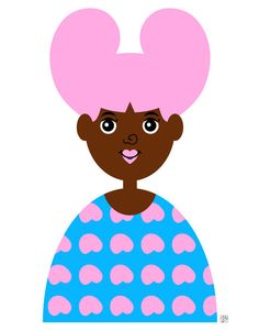Girl 1 Art Print Cute Little African American Illustration by Tabitha Brown