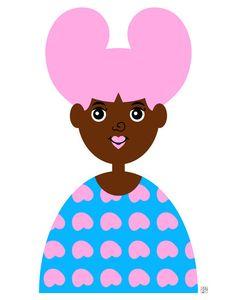 Girl 1 Art Print Cute Little African American Illustration by Tabitha Brown