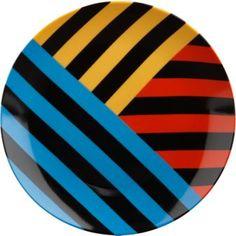 Techno triple stripe dinner plates CB2