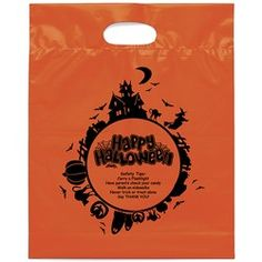 This promotional orange die cut handle bags comes with fold-over die cut handles and a bottom gusset. Halloween Bags, Happy Halloween, Pumpkin Carving Kits, Promotional Bags, Fright Night, Cursed Child Book, Custom Bags, Die Cutting, Prints