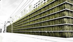 grass coated green-roofed parking garage concept for Tokyo.