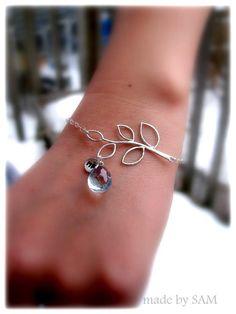 Birthstone Initial Bracelets, Branch Leaf, STERLING Silver Bracelets