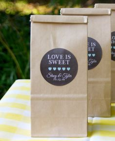 12 Brown Kraft Favor Bags - Cookie Favor Bags - Personalized Favors - Bridal Shower Favors - Cookie Favors - Love is Sweet - Wedding Favors