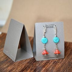 Custom Free Standing Tent Earring Display Cards by HomegrownGems