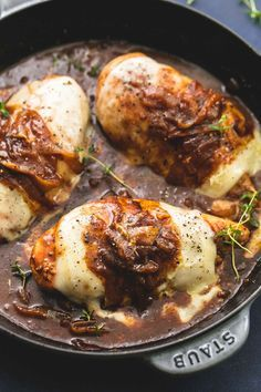 Saucy one pan French onion chicken with juicy pan-seared chicken smothered in caramelized onion gravy and three kinds of melty Italian cheese.