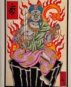 Made By @garethlloyd.cet #fudomyooart #japaneseculture #fudomyoo #japanesetattooart Traditional Japanese Tattoo Designs, Traditional Tattoo, Nerdy Tattoos, Japanese Tattoo Art, Asian Tattoos, Japan Tattoo, Irezumi Tattoos, Occult Art, Popular Art