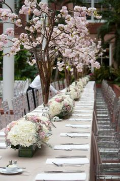 Tall Vase with Cherry Blossoms and Chemin de Table Centerpieces | Richard Viard | TheKnot.com