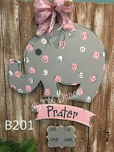 Hand Painted Baby Girl Polka Dot Elephant Personalized With Birth Statistics Hospital Door Hangers, Baby Door Hangers, Baby Kranz, Baby Boy Birth Announcement, Baby Girl Elephant, Baby Carriage, Wood Cutouts, Paint Party, Baby Crafts