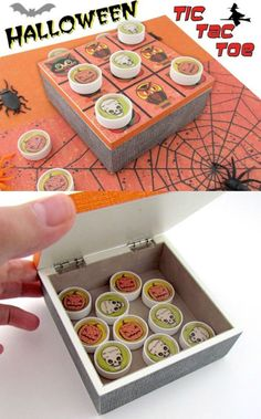 Use a wood box and bottle lids to create this unique tic-tac-toe Halloween craft. Kids will have so much fun with this game!