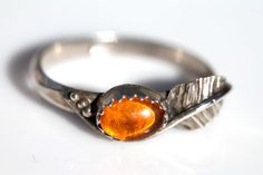 Vintage Signed Navajo Sterling Silver & Baltic Amber Ring by Larry Begay Size 8