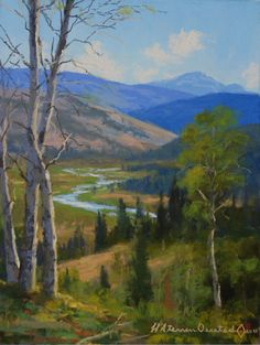 This piece demonstrates composition. The placement of each tree and mountain, as well as the river, shows that the artist put thought into each subject of their work, and placed them in such a way that they work together harmoniously to create a scene. The river is an example. The way it twists and turns is attractive to the eye.  The artist thought about the way it would interact with each piece of their work, and chose that shape for maximum visual interest, instead of just making it…