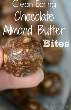 Clean Eating Chocolate Almond Butter Bites. So great to satisfy your cravings in a healthy way!