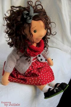 "Waldorf inspired doll  Zuzanna 18""(46cm), Handmade, Art doll by julilale on Etsy"