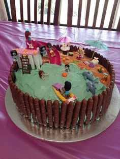 2015 - T's 6th birthday cake - lego friends beach cake