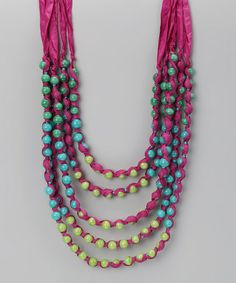 Take a look at this Purple Ribbon & Beaded Necklace by ZAD on #zulily today!