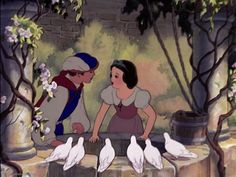 Screencap Gallery for Snow White and the Seven Dwarfs Bluray, Disney Classics). A beautiful girl, Snow White, takes refuge in the forest in the house of seven dwarfs to hide from her stepmother, the wicked Queen. Walt Disney, Disney Couples, Disney Love, Disney Magic, Disney Art, Disney Guys, Snow White 1937, Snow White Prince, Snow White Seven Dwarfs