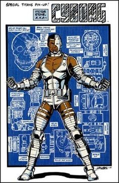 Cyborg from his Teen Titans days by George Perez Superhero Characters, Dc Comics Characters, Dc Comics Art, Comic Book Artists, Comic Book Heroes, Comic Books Art, Comic Art, The New Teen Titans, Original Teen Titans