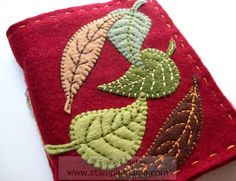 Autumn Leaves felt covered journal - handmade. $24.00, via Etsy.(maybe i can do this for an ipad cover)