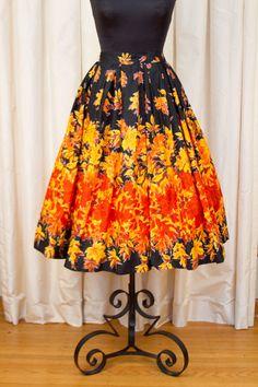 38847ed49e4 1950 s Skirt    Fall Leaf Novelty Border Print by GarbOhVintage Leaf Skirt