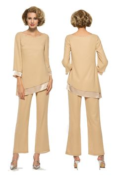 2 Pieces Mother of the Bride Pantsuits with Long Sleeve Mothers Dresses, Bride Dresses, Formal Dresses, Mother Of The Bride Trousers, Wedding Pantsuit, Evening Blouses, Bridal And Formal, Body Drawing, Groom Dress