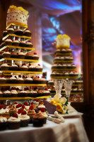 Wedding, Cake, Black, Yellow, Cupcakes, Cutting, Cupcake, Tower, Sugar and spice and , Houndstooth