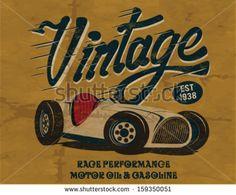 vintage race car for printing.vector old school race poster.retro race car set by swsctn, via ShutterStock