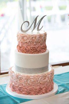 Ombre Buttercream Rosette Cake with Rhinestone Trim. Bling Wedding Cakes, Square Wedding Cakes, Wedding Cake Designs, Sweet 16 Birthday Cake, Beautiful Birthday Cakes, Beautiful Cakes, Kino Party, Cupcake Cakes, Cupcakes
