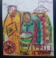 Banda nkuvo  Pintura de joao timane em homenagem ao seu mestre Makazako.  Acrilico sobre tela  2015  Moçambique.