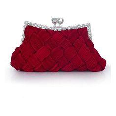 In Stock Elegant Red Silk Austrian Rhinestones Evening Handbags... ($20) ❤ liked on Polyvore featuring bags, handbags, clutches, rhinestone evening bag, rhinestone clutches, purple handbags, red evening handbags and rhinestone purses