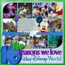 top ten reasons we love Disney world scrapbook page