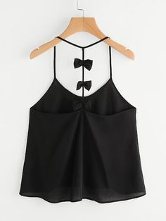 Shop Bow Embellished Y-Back Cami Top at ROMWE, discover more fashion styles online. Crop Top Outfits, Cute Outfits, Cute Summer Outfits, Cami Tops, Maxi Skirt Crop Top, Diy Clothes Design, Choli Dress, Cheap Boutique Clothing, Leotard Fashion