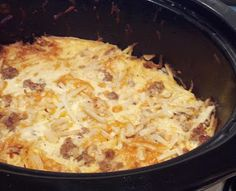 Crock Pot Breakfast Casserole with Sausage - This was a BIG hit on Christmas morning! I don't think I put the dried mustard in it and I used pre-cooked sausage links, cut up. Sooo easy and delish! Some of the fam topped it with sour cream and salsa. Breakfast Dishes, Breakfast Time, Best Breakfast, Breakfast Recipes, Breakfast Ideas, Brunch Ideas, Recipes With Breakfast Sausage Links, Dinner Ideas, Crockpot Breakfast Casserole