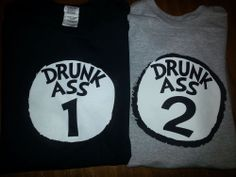 New DRUNK ASS ONE AND TWO T-Shirts BEER DRINKING SHIRTS DR SUESS