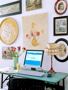 A collection of family photos and vintage finds grace the walls of this chic desk space: http://www.bhg.com/decorating/decorating-style/flea-market/vintage-cottage-style/?socsrc=bhgpin021015patchworkart&page=11