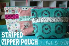 Striped Zipper Pouch Tutorial from Pink Stitches. Thanks to Salty Oat Quilts for the info!!