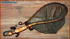 """Custom wood fly fishing landing net - #33 """"Salamander"""" in Snakewood, Ebony, Osage, Lacewood, Curly Maple"""