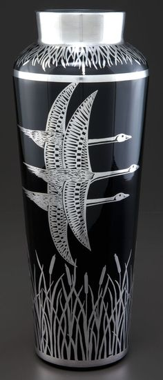 A ROCKWELL GLASS VASE WITH SILVER OVERLAY . Rockwell Silver Co., Meriden, Connecticut, circa 1930.