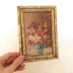 miniature floral oil painting gilded gold frame Signed Original Oil Painting by EllasAtticVintage on Etsy