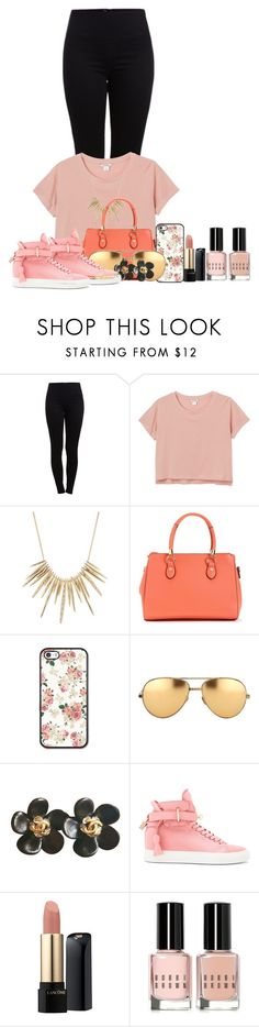 """Untitled #121"" by mimicherelus ❤ liked on Polyvore featuring Pieces, Monki, Alexis Bittar, Linda Farrow, Chanel, BUSCEMI, Lancôme and Bobbi Brown Cosmetics"