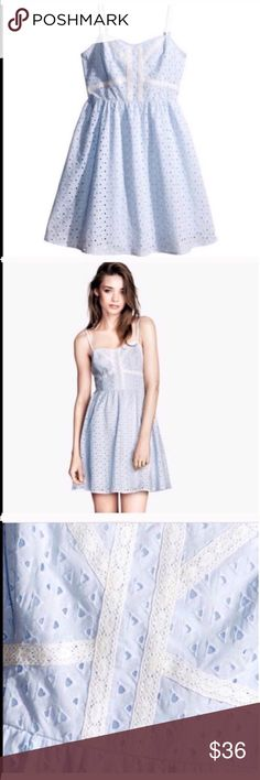 H&M BLUE EYELET SUMMER DRESS Beautiful in excellent conditions H&M dress. Light blue and white. No flaws, rips, holes or stains. Zips on the back. Adjustable spaghetti straps. 100% cotton. Item#121 MEASUREMENTS ON SIZE CHART ON PICTURE #4. Refer to chart for sizing. 💗Condition: NWT 💗Smoke free home 💗No trades, No returns 💗No modeling  💗Shipping next day 💗OPEN TO reasonable OFFERS  💗BUNDLE and save more 💗All transactions video recorded to ensure quality. H&M Dresses Midi