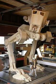 This Woodworker's Journal reader uses his woodworking skills to produce scale-model furniture for Barbie and Star Wars toys. Shown here is a AT-ST Scout walker from Return of the Jedi.