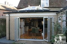 Hardwood kitchen extension Project by Heritage Conservatories. House Extension Design, Extension Designs, Extension Ideas, Concertina Doors, Kitchen Family Rooms, House Extensions, Conservatory, My Dream Home, Home Improvement