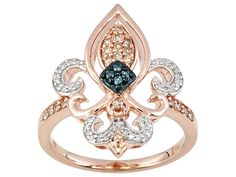 Rose Gold Diamond Fleur De Lis Ring