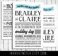 Modern Rustic Wedding Invitations  The Bradley billboard style typography by inoroutmedia, $65.00