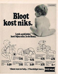 Oude advertentie Hema baby kleding 1971