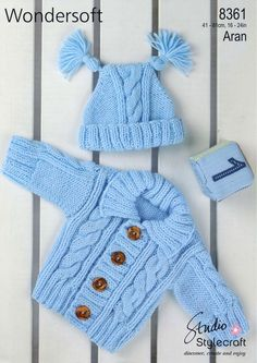 Offering vintage PDF knitting patterns to make a sweet cabled Aran cardigan sweater and double tasseled hat set for baby. Aran, Pattern in DK Size: Chest sizes of - 0 to 4 Years. Also requires pair of knitting needles, cable needle, stitch holder and 4 Baby Boy Knitting Patterns, Baby Sweater Patterns, Baby Cardigan Knitting Pattern, Knitting For Kids, Baby Patterns, Free Knitting, Knitting Needles, Pdf Patterns, Vintage Patterns
